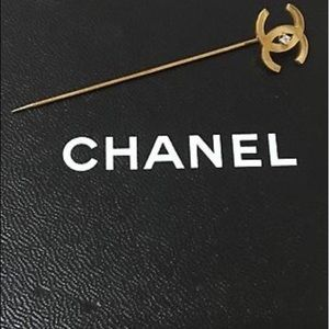 Authentic Gold CC Chanel Pin with Rhinestone